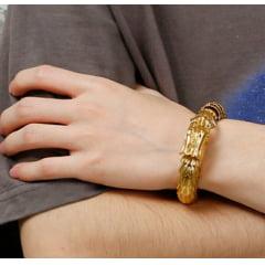 Luxuoso bracelete de dragão em aço titânio dourado joia muito linda