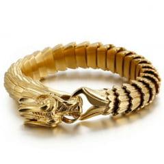 Luxuoso bracelete de dragão em aço titânio dourado joia muito linda WhatsApp 14-99802-3641