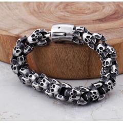 Pulseiras de caveiras WhatsApp 14-99802-3641 jóias em Aço Inoxidável estilo Rock Metal Gótico