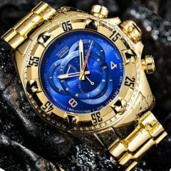 relógio masculino dourado preto e prata Japão movimento de quartzo a prova d' água relógio masculino grande muito bonito para qualquer ocasião .