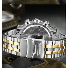 relógio masculino dourado preto e prata Japão movimento de quartzo a prova d' água relógio masculino grande muito bonito para qualque ocasião