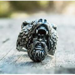 Anel masculino Viking cabeça de urso e homem simbolo de força e liderança feito em aço inoxidável 316L