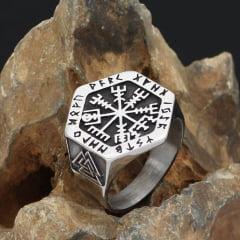 Anel masculino/vikings em aço inoxidável 316L alta qualidade joia pra toda vida