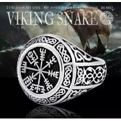 Anel masculino vikings joia em aço inoxidável não enferruja nunca perde o brilho