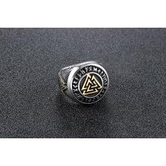 Anel runa vikings prata e dourado linda peça em aço inoxidável 316L