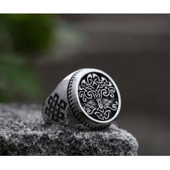 Anel viking arvore da vida em aço inoxidável joia pra vida toda