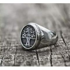 Anel viking arvore da vida joia em aço inoxidável 316L joia pra vida toda