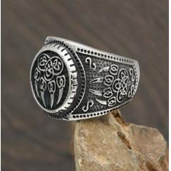 Anel viking joia nórdica em aço inoxidável 316L nunca perde o brilho .