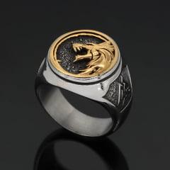 Anel Viking lobo em aço inoxidável 316L joia pra vida todo .