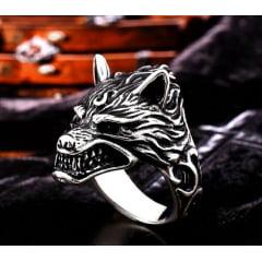 Anel vikings cabeça de lobo feros em aço inoxidável 316L alta qualidade