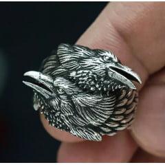 Anel masculino vikings dupla cabeça de corvo em aço inoxidável 316L alta qualidade