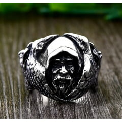 Anel masculino Vikings Odin em aço inoxidável 316L joia para a vida toda .