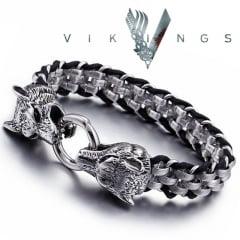 Bracelete Vikings cabeça de lobo em aço inoxidável 316L e couro