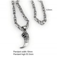 Colar pingente de dragão em aço inoxidável 316L linda joia