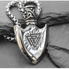 Colar viking pingente runa valknut de um lado e bússola do outro aço inoxidável