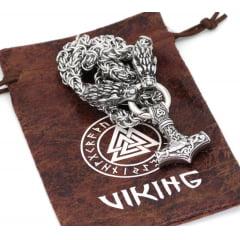 Colar vikings cabeças de dragão com pingente mjolnir em aço inoxidável 316L colar vigoroso marcante joia perfeita .