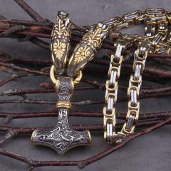 Colar vikings maravilhoso com cabeça de dragão pingente Mjölnir mesclando as cores prata e dourado linda joia