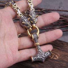 Colar vikings maravilhoso com cabeça de lobo pingente Mjölnir mesclando as cores prata e dourado linda joia