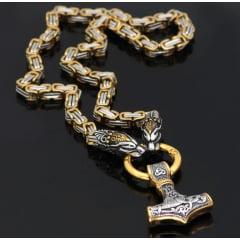 Lindo colar Viking cabeça de leopardo pingente mjolnir Thor em aço inoxidável 316L colar marcante joia perfeita.