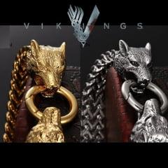 Pulseiras Vikings cabeça de lobo jóias estilo nórdico em aço inoxidável 316L alta qualidade .
