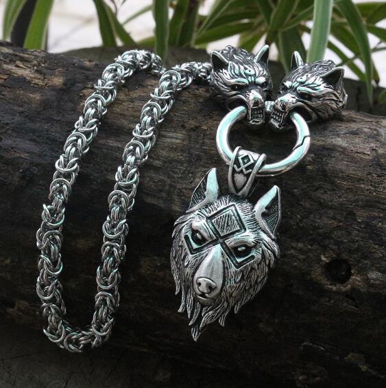 Colar pingente vikings cabeça de lobo em aço inoxidável